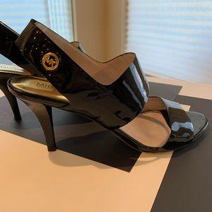 Michael Kors Black heeled Sandals w/ gold accents